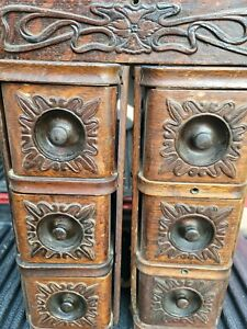 Vtg 7 Antique Wood Treadle Sewing Machine Ornate Cabinet Drawers