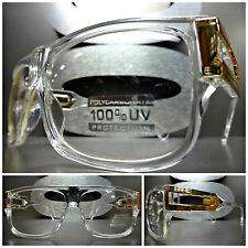 VINTAGE RETRO Clear Lens EYE GLASSES Cool Transparent Crystal Gold Fashion Frame