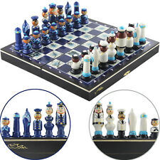 Nautical Themed Chess Set with Handmade Wood Sailors Chess Pieces Ocean Decor