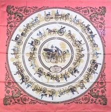 """Authentic HERMES Silk Carré 35"""" 90cm Scarf LA PROMENADE DE LONGCHAMPS Pink #8139"""