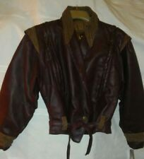 V. ITALIAN LEATHER BOMBER JACKET WINE/BROWN 12/14 NEW