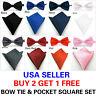 Men's Bow Tie Bowtie & Pocket Square Hanky Set Solid Color Wedding Party Prom