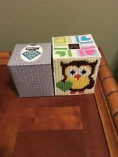 Handmade Needlepoint Plastic Canvas Tissue Box Cover - Valentine Owl