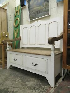 Reclaimed Painted Farmhouse Pine Wooden Monks Bench Storage Settle Seat