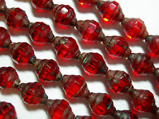 18 11x8mm Czech Glass Faceted Ruby Red Picasso Turbine Faceted Bicone Beads