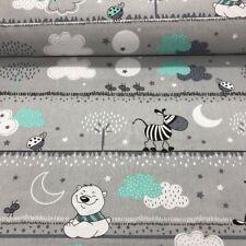 Baumwollstoff 100% Meterware 0,5lfm 1,6m breit Dekostoff Zebra Bär Nacht Grau