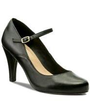 Clarks Ladies Dalia Lily Black Leather Mary Jane Smart Shoes Size UK 6E