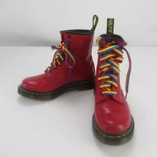Dr Marten Red Boots with Floral Pattern and Rainbow Laces - Style 1460 - Size 3
