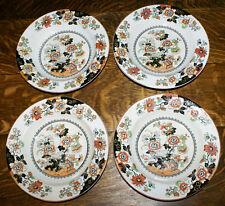 Rare 1860 Ashworth Polychrome Open Bible Pattern * FOUR Rimmed Soup Bowls Plates
