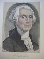 VINTAGE CURRIER & IVES AMERICA COLOR PRINT, G. WASHINGTON