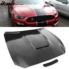 Fits 15-17 Ford Mustang 2Dr GT350 Style Steel Front Hood - Black