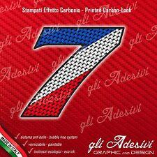 Adesivo Stickers NUMERO 7 moto auto cross gara Carbon Effect Blu White Red 15 cm