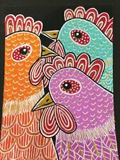 Original Painting ACEO Art Card 2.5 x 3.5 Signed Whimsical Chicken  Mini