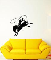 Vinyl Wall Decal Wild West Western Cowboy On Horse Stickers (3641ig)