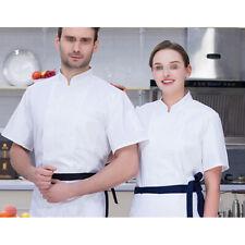 Chef Coat Jacket Men Women Short Sleeve Cook Work Restaurant Uniform Chic