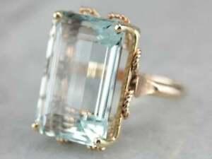 3.80Ct Emerald Cut Aquamarine Women's Engagement Ring Solid 14K Rose Gold Finish