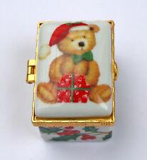 Alastor Enamels Christmas Holly Teddy Bear Rectangular Hinged China Trinket Box