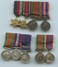 3 BRITISH WORLD WAR 2 MINIATURE MEDAL GROUPS BURMA SOUTH EAST ASIA CORONATION
