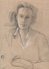 FEMALE PORTRAIT Pencil Drawing WALTER SICKERT Pupil FRANK GRIFFITH c1940