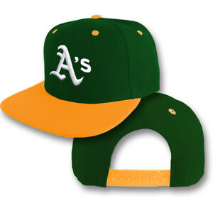 Oakland A's Snap Back Cap Athletics Hat Embroidered Adjustable Flat Bill Men