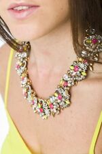 Necklace Statement Jewelled Pastel Floral Collar Pendant Design Fashion Jewelry