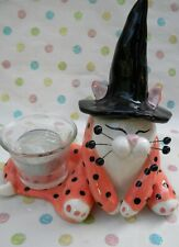 Cookie Lu witch votive cat, + free surprise cat pin ($12 retail)  Helps Animals
