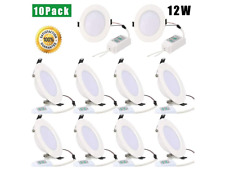 [Pack of 10]12W 4 Inch Recessed Lighting Ultra-Thin, 6000K Daylight White