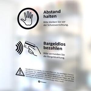 Schutz-Wand Aufkleber ABSTAND halten BARGELDLOS bezahlen Corona-Schutz Kasse M1