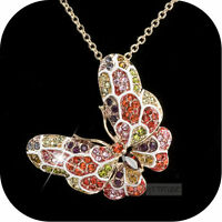 18k rose gold made with SWAROVSKI crystal butterfly colorful pendant necklace