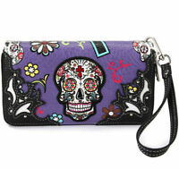 Western Purple Sugar Skull Wristlet Wallet Women Punk Leather Purse Clutch