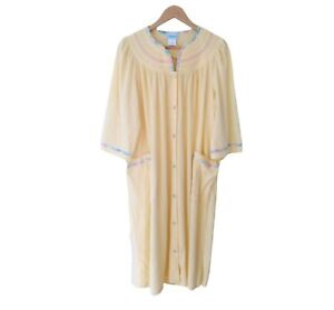NEW National Yellow Robe Snap Button Down House Coat Lounge Muumuu Terry Large