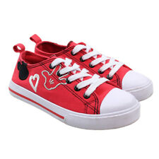 DISNEY Mickey Mouse Little Girls Red Canvas Embroidered Sneakers Youth Sz 12