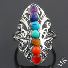 7 Chakra Stone GEMSTONE Beads Butterfly Adjustable Finger Ring Jewelry Healing