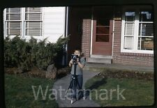 1960s kodachrome  Photo slide Young boy with  camera  and tripod #1