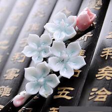 Chinese Jing De Zhen Porcelain Hairpin Light Blue Flower Hair  Accressories