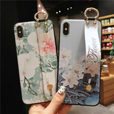 Wrist Strap Stand Strip Flower Retro Case Cover For iPhone XS Max XR 6S 7 8 Plus