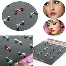 Tongue Bar Body Piercing Studs 12pcs/set Multicolor Stainless Steel Ear Eyebrow