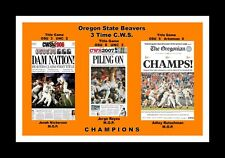Oregon State Beavers 3 Time Cws Champions Matted Photo Of Newspaper Front Pages
