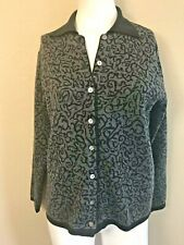 Talbots Women's Small Wool Sweater Button Front Cardigan Black Gray