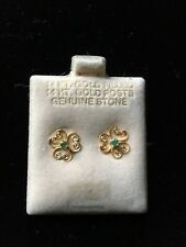 14K Gold Filled Girls, Womens Emerald Small Clover Stud Earrings-14K Gold Post