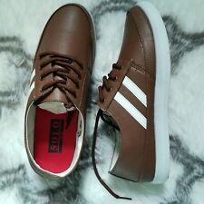 Solo Mens Brown Fashion Sneaker Shoes Lace up 2 Stripe sz 8 High step 200
