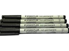 Staedtler Lumocolor Non-Permanent pen, Black Fine, 4 each 316-9   New!