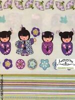 MD229 Asian Geisha Kimono Fan Celebration Festival Flower Cotton Quilt Fabric