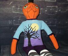 Halloween Style Ooak Doll fabric sewn handpainted pumpkin head #handmade tree