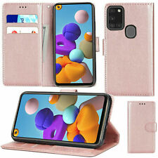 For Samsung Galaxy A21S PU Leather Wallet Flip Stand with Card Slots Case Cover