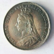 1887 GREAT BRITAIN 3 PENCE - TONED AU - High Quality Silver Coin - Lot #A6