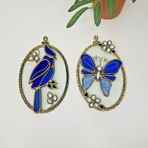 "Blue Bird & Butterfly Stained Glass Suncatchers 6.5""- Set of 2- Art Glass"