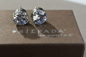 RARE Silpada Cubic Zirconia Sterling Silver Stud Earrings P2381 Queen For A Day