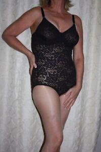 NWT Bali Lace N' Smooth Stretch Lace Firm Control Body Briefer Tuxedo Black 38DD