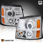 For 2002-2006 Cadillac Escalade LED Halo Clear Projector Headlights L+R 02-06  for sale